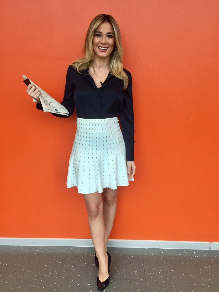 Diletta Leotta wears Suncoo skirt and Tara Jarmon blouse